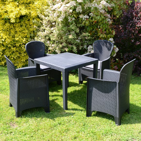 Salerno Table with 4 Sicily Chairs Dark Grey