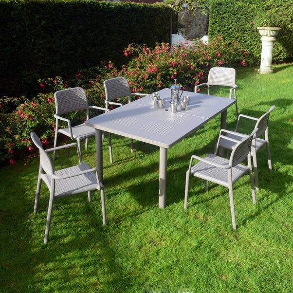 Libeccio Dove Grey Table with 6 Bora Chairs