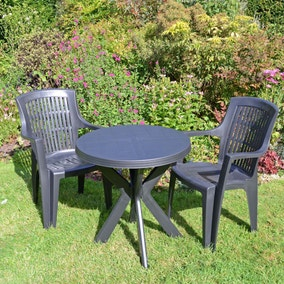 Tivoli 2 Seater Dark Grey Bistro Set with Parma Chairs