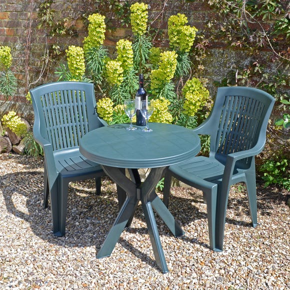 Tivoli Green Table with 2 Parma Chairs Green