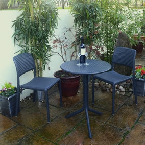 Dark Grey Step Table with 2 Bistro Chairs
