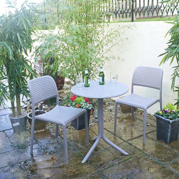 Dove Grey Step Table with 2 Bistro Chairs Dove Grey
