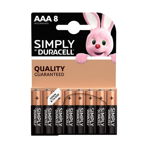 Duracell AAA Simply Batteries Pack of 8 Black