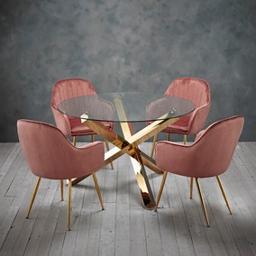 Laila 4 Seater Dining Set - Pink