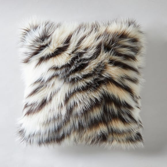 White Tiger Faux Fur Cushion MultiColoured