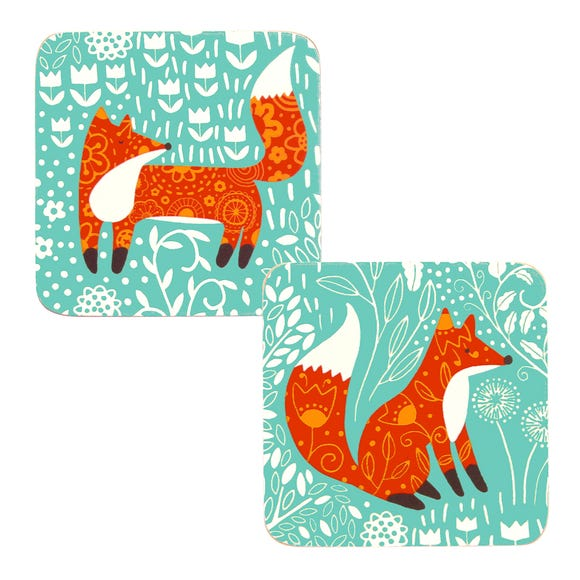 Ulster Weavers Foraging Fox Pack of 4 Coasters Blue