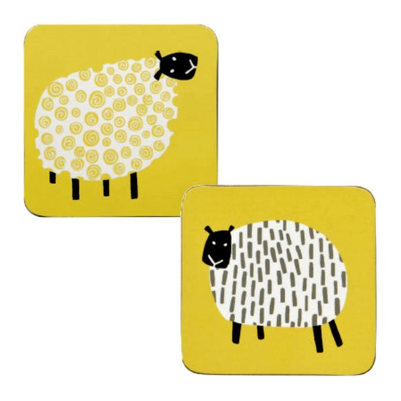 Ulster Weavers Dotty Sheep Pack of 4 Coasters Yellow