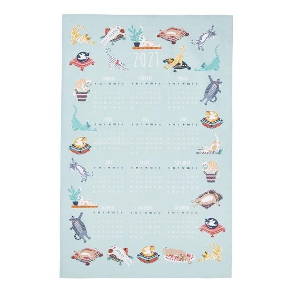 Ulster Weavers Kitty Cats Calendar Tea Towel Blue