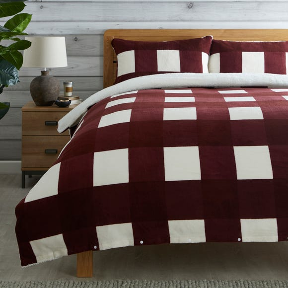 Red Fleece Sherpa Check Duvet Cover and Pillowcase Set Red undefined