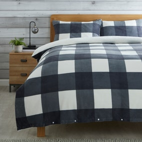 Grey Fleece Sherpa Check Duvet Cover and Pillowcase Set