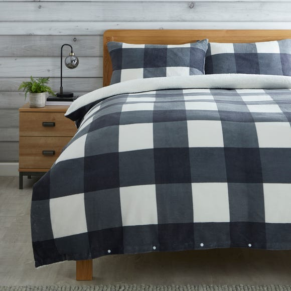 Grey Fleece Sherpa Check Duvet Cover and Pillowcase Set Grey undefined