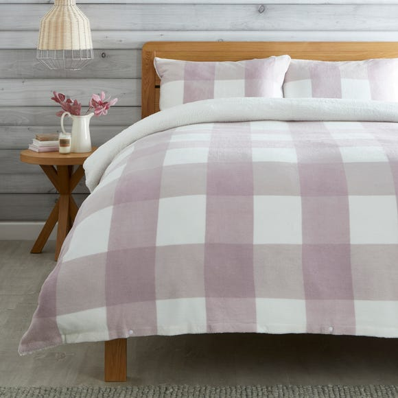 Pink Fleece Sherpa Check Duvet Cover and Pillowcase Set Pink undefined