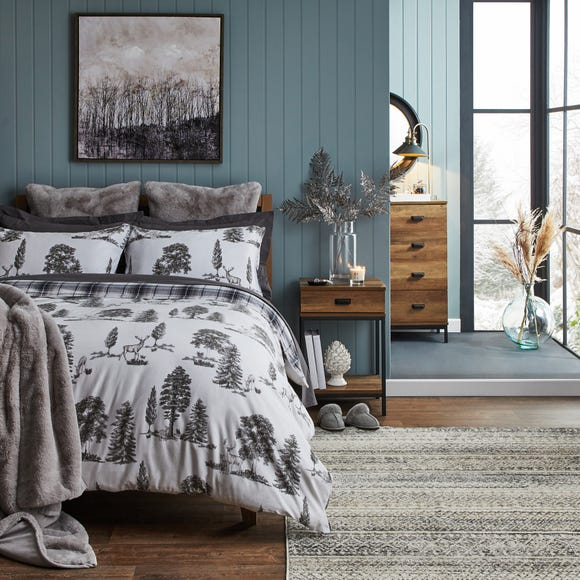 Dorma Brodie Grey Duvet Cover and Pillowcase Set Grey undefined