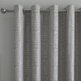 Curtina Lowe Woven Charcoal Eyelet Curtains