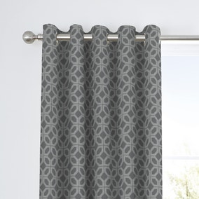 Curtina Oriental Squares Geometric Charcoal Eyelet Curtains