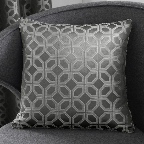 Curtina Oriental Squares Geometric Charcoal Cushion Charcoal