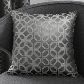 Curtina Oriental Squares Geometric Charcoal Cushion