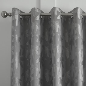 Curtina Romolo Embroidered Silver Eyelet Curtains
