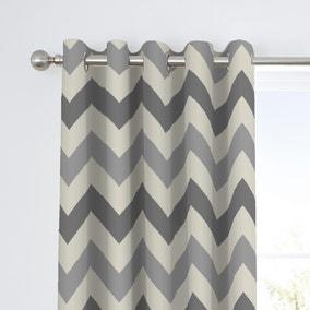 Fusion Chevron Grey Eyelet Curtains