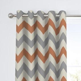 Fusion Chevron Terracotta Eyelet Curtains