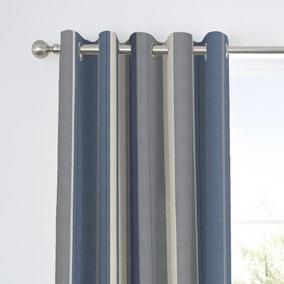 Fusion Whitworth Striped Blue Eyelet Curtains