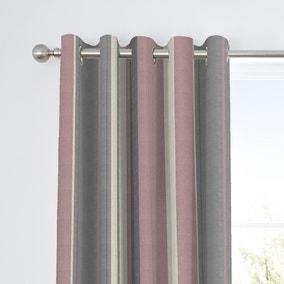 Fusion Whitworth Striped Blush Eyelet Curtains