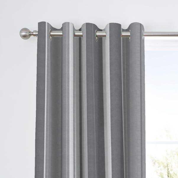 Fusion Whitworth Striped Grey Eyelet, Grey Striped Curtains