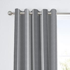 Fusion Whitworth Striped Grey Eyelet Curtains