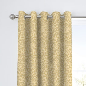 Curtina Leopard Ochre Jacquard Eyelet Curtains
