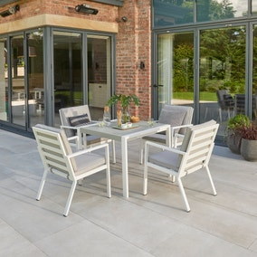 Titchwell 4 Seater White Dining Set