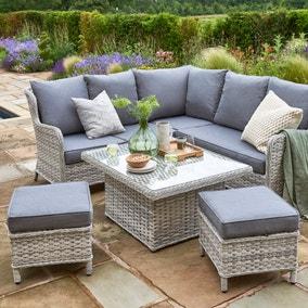 Wroxham 4 Seater Grey Corner Lounging Set