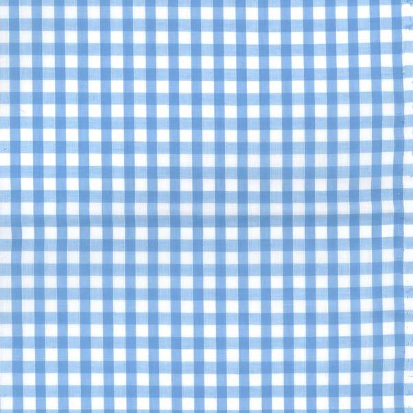 Gingham Cotton Poplin Fabric Pale Blue