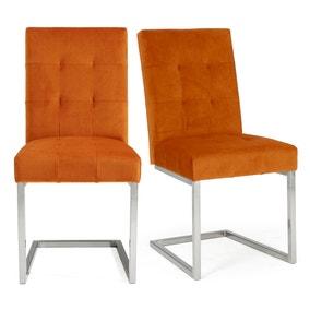 Tivoli Set of 2 Dining Chairs Orange Velvet