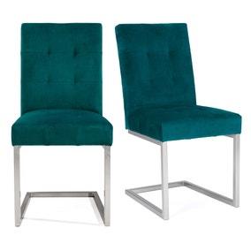 Tivoli Set of 2 Dining Chairs Green Velvet