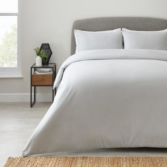 Simply Brushed Cotton Silver Duvet Cover and Pillowcase Set  undefined