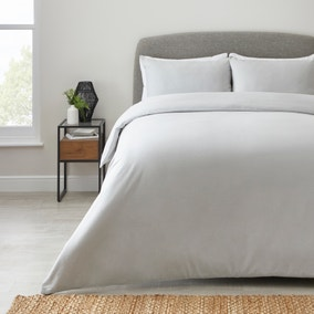 Simply Brushed Cotton Silver Duvet Cover and Pillowcase Set