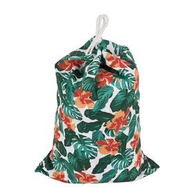 Tropical Leaf Drawstring Bag