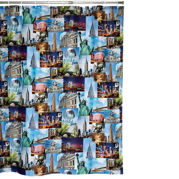 NYC Extra Long Shower Curtain MultiColoured