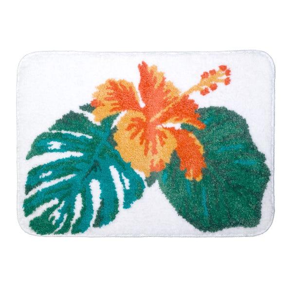 Tropical Leaf Microfibre Bath Mat MultiColoured