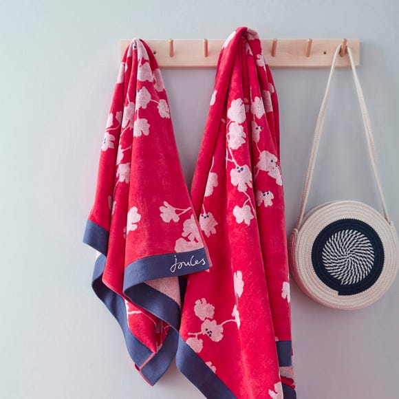 Joules Penzance Floral 100% Cotton Red Towel  undefined