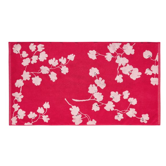 Joules Penzance Floral 100% Cotton Red Bath Mat Red