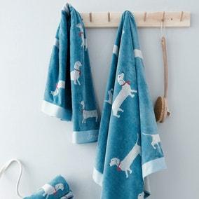 Joules Sausage Dog 100% Cotton Blue Beach Towel