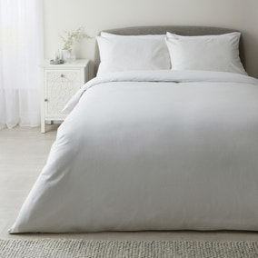 Wilber White 100% Cotton Duvet Cover and Pillowcase Set
