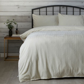 Cream Cable Knit Duvet Cover and Pillowcase Set