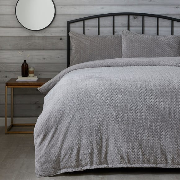 Grey Cable Knit Duvet Cover and Pillowcase Set Grey undefined