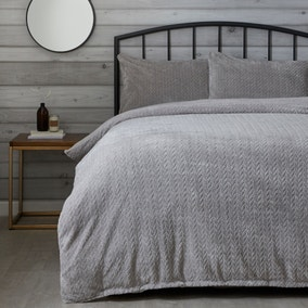 Grey Cable Knit Duvet Cover and Pillowcase Set