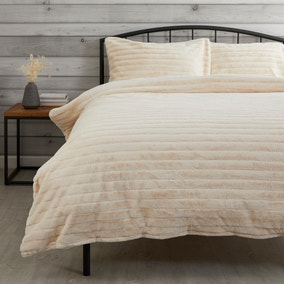 Cream Faux Fur Duvet Cover and Pillowcase Set
