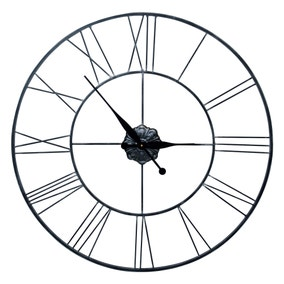 Roman Numeral 80cm Metal Wall Clock Black
