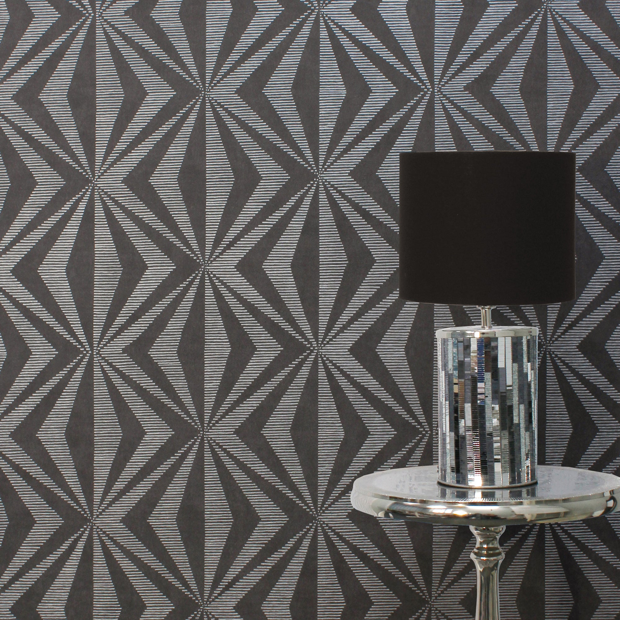 Click to view product details and reviews for Precision Diamond Geometric Charcoal Wallpaper Charcoal And White.