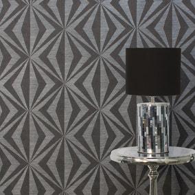 Precision Diamond Geometric Charcoal Wallpaper